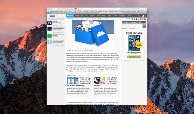 macOS Sierra: Navigation zurück in Safari 10 schließt Tabs