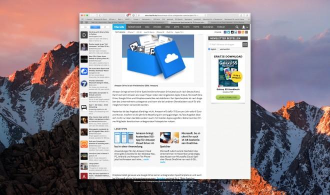 macOS Sierra: Liste geschlossener Tabs in Safari 10 mit Force-Klick öffnen