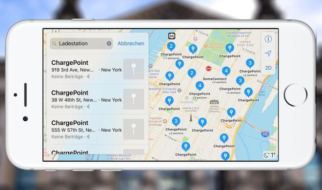 Apples Karten-App zeigt nun Ladestationen für Elektroautos an