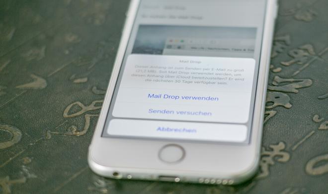 So verschicken Sie große Anhänge am iPhone per Mail Drop