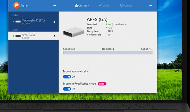 Windows kann auf APFS schreibend zugreifen