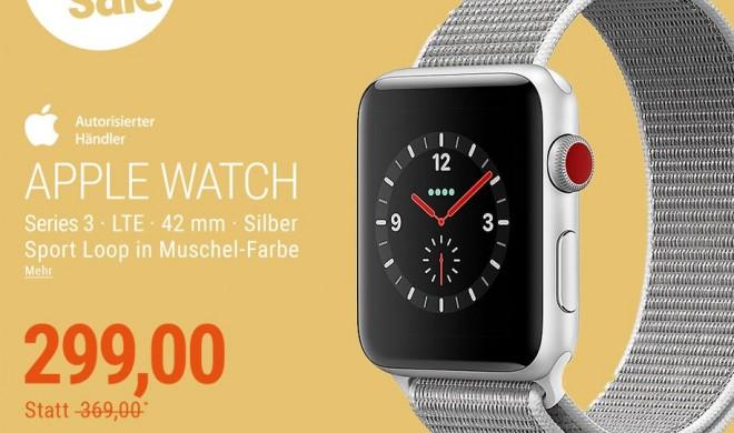 Apple Watch Series 3 GPS + 42 mm mit Sport Loop in Muschel-Farbe für unter 300 Euro