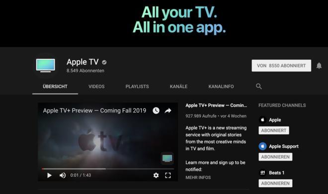 """Apple startet neuen """"Apple TV""""-YouTube-Kanal für Serien und Filme"""