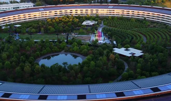 Apple Park mit einer Drohne gefilmt - Bühne entdeckt