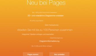 iWork für iCloud unterstützt 1 GB Dokumente, Zusammenarbeit mit 100 Personen
